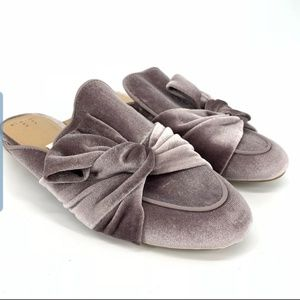 Gray purple Velvet Mules clog shoes size 6.5 and 7